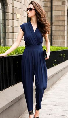 Blue Sleeveless V Neck Jumpsuit. IDK if I could pull this off with my wide hips!