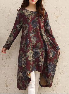 Floral Applique Long Sleeve Midi Shift Dress Source by hpolohova Casual Formal Dresses, Stylish Dresses For Girls, Pakistani Dresses Casual, Frocks For Girls, Kurta Designs Women, Kurti Designs Party Wear, Long Sleeve Midi Dress, Mode Hijab, Women's Fashion Dresses