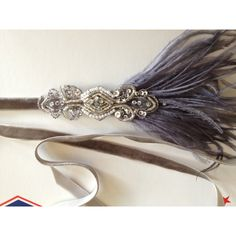 1920s Headpiece Great Gatsby Headband Flapper Dress Flapper Headband... ($35) ❤ liked on Polyvore featuring accessories, hair accessories, headbands & turbans, silver, turban headband, flapper headband, white feather headband, flapper feather headband and stretchy headbands