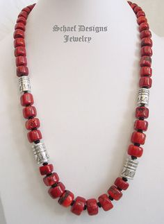 Schaef Designs red coral, black onyx  sterling silver tube bead necklace | New Mexico