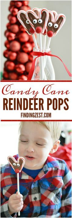 These no-bake Candy Cane Reindeer Pops are a fun holiday treat. They are easy and a great homemade food gift that kids can help you make! #reindeer #foodgift #candycane #kidfriendly