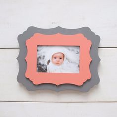 4x6 Gray & Coral Hibiscus Picture Frame