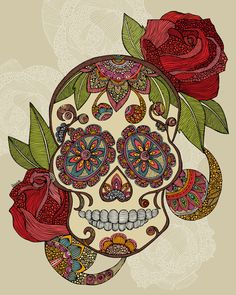 Sugar Skull Art Print - hope whoever I live with doesn't have a problem with sugar skulls.....