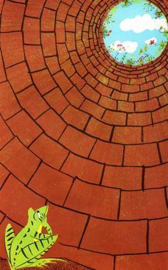 The Frog in the Well by Alvin Tresselt ~ pictures by Roger Duvoisin ~ Lothrop, L. The Frog in the Well by Alvin Tresselt ~ pictures by Roger Duvoisin ~ Lothrop, Lee Classe D'art, Middle School Art Projects, Middle School Crafts, School Projects, Art School, School Ideas, Perspective Art, Perspective Drawing Lessons, Creation Art
