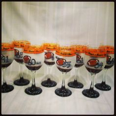 den of bears...hand-painted mercer themed wine glasses, for football, for volleyball, for your sport. each glass features sport icon and jersey number #mercerfootball