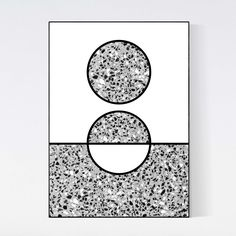 black and white #terrazzo #poster by 5mm Paper. Terrazzo stone is combined with geometric graphic art. Very unique piece of wall art. Printed on 200 grams of high quality matte paper and available in sizes A3 (29.7 x 42 cm) A2 (42 x 59.4 cm). Frame not included.