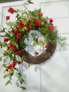 Your place to buy and sell all things handmade Summer Door Wreaths, Easter Wreaths, Holiday Wreaths, Wreath Crafts, Diy Wreath, Grapevine Wreath, Poppy Wreath, Floral Wreath, White Wreath