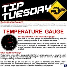 Car Care Tip: Watch your temperature gauge as well as your speedometer. The temperature gauge is critical to monitor because it doesn't take long to destroy your engine once it overheats. For many vehicles, the needle should stay just below the halfway mark when the cooling system is working how it's supposed to. ll Auto Repair - Automotive Service Garage - Sarasota, FL http://www.srqautorepair.com/