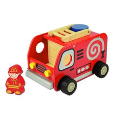 I'm Toy Fire Engine. Loud horn, bright flashing lights and cool equipment make the fire engine a favourite among all children. Role-play putting out fires, saving cats stuck in a tree or racing around with your best fire engine siren. Made from sustainable rubber wood, finished with non-toxic paint. Approx 16cm x 20.5cm x 14cm Ages 18m+