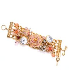 Betsey Johnson Bracelet, Antique Gold Tone Pave Rose Charm Toggle Bracelet - Fashion Jewelry - Jewelry & Watches - Macy's