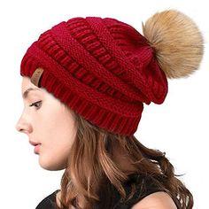 38b094ca6ef Womens Winter Slouchy Knit Beanie Chunky Faux Fur Pom Poms Hat Bobble Hat  Ski Cap