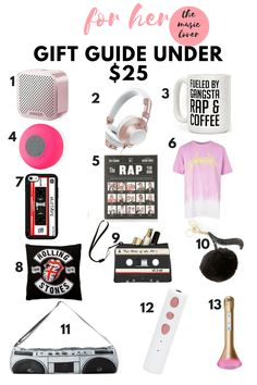 gift guide under $25 for her personality type - the music lover #gift #giftideas #giftsforher