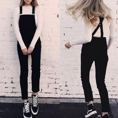 【whiteout sleeve sweater under black pant overalls】