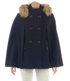 Cape femme esprit officier capuche imitation fourrure - Vestes et Manteaux Camaieu - Pret a porter féminin, mode et tendance