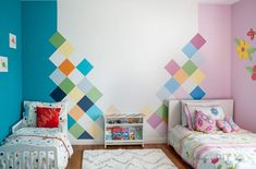 How to: Colorful Accent Wall for Kids Room. How to: Colorful Accent Wall for Kids Room - Anika's DIY Life. How to paint a colorful accent wall. Step by step tutorial to easily paint a DIY geometric accent wall in under 6 hours. Perfect idea for kids room! Boy And Girl Shared Room, Shared Boys Rooms, Boy Girl Bedroom, Shared Bedrooms, Girl Room, Kids Bedroom, Room Boys, Unisex Kids Room, Bedroom Ideas
