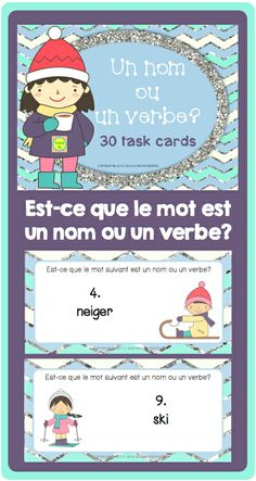 French Task Cards - Noun or Verb? - un nom ou un verbe? 30 cards in colour and BW Core French, French Class, French Lessons, Teaching French Immersion, French Teaching Resources, French For Beginners, French Education, French Grammar, French Teacher