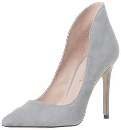 Enzo Angiolini Women's Fayson Dress Pump,Grey Suede,5 M US. An elevated ankle and plunging vamp serve to elongate this sleek stiletto.