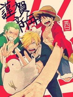 One Piece, Strawhat Pirates, Zoro, Sanji, Luffy
