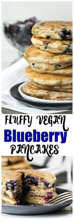 Soft, fluffy and downright amazing Blueberry Pancakes! Completely dairy-free and oil-free, yet so moist and healthy!