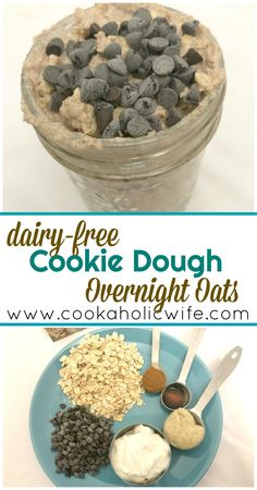 Dairy-Free Cookie Dough Overnight Oats Cookaholic Wife: Dairy-Free Cookie Dough Overnight Oats More from my siteCut Out Dairy Free Sugar Cookies – Dairy Free for BabyDairy-Free & Egg-Free SnickerdoodlesDairy-Free Recipes Dairy Free Cookie Dough, Dairy Free Cookies, Oat Cookies, Cookies Et Biscuits, Protein Cookie Dough, Jai Faim, Overnight Oatmeal, Healthy Overnight Oats, Dairy Free Overnight Oats