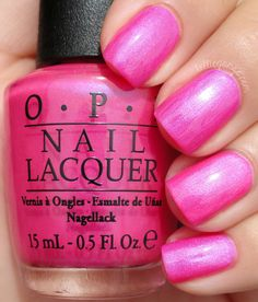 OPI - Hotter Than You Pink - so hot it hurts my retinas! Cute Pink Nails, Sparkly Nails, Fancy Nails, Love Nails, Pretty Nails, Shiny Nails, Cute Nail Polish, Nail Polish Designs, Opi Polish