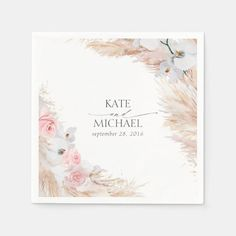 Bridal Shower Invitations, Wedding Stationery, Invites, Chic Bridal Showers, Tropical, Wedding Napkins, Wedding Table, White Orchids, Pampas Grass