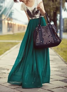emerald maxi, t-shirt, studded bag. Loving all the emerald colors this fall!