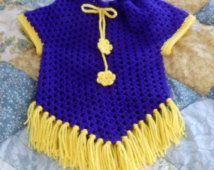 Handmade Crocheted Poncho Girls Size 4 / 5 Dark Purple Yellow
