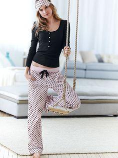 The Dreamer Henley Pajama - Tina (Pink/Black dot or Antelope) Size small LONG