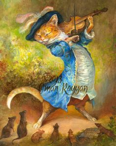 Cat with Fiddle (medium size print)