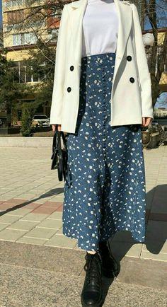 Modest Fashion Hijab, Modern Hijab Fashion, Street Hijab Fashion, Hijab Fashion Inspiration, Korean Girl Fashion, Muslim Fashion, Skirt Fashion, Fashion Outfits, Fashion Fall