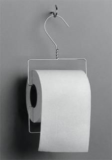 wire hanger toilet paper holder with paper