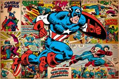"""""""Marvel Comic Book Captain America on Captain America Covers and Panels"""" - canvas print by Marvel Comics"""