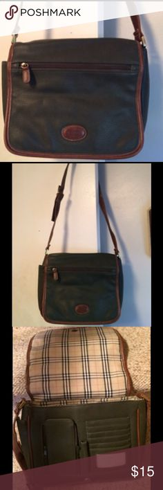 """Rosetti Green Crossbody Purse Green crossbody purse with brown trim, green cloth and plaid lining,  zippered pocket on the inside, right side, and on the outer flap, credit card slots, a pencil slot and a zippered cell phone pocket under the flap, and an open pocket on the back. The flap has a snap closure. 10"""" wide x 9"""" tall. Great condition. Rosetti Bags Crossbody Bags"""