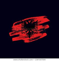 Vector brush painted flag of Republic of Albania isolated on dark blue background. Frayed and scratched the national symbol of the European country Salon Wallpaper, Vector Brush, National Symbols, Dark Blue Background, Flag Vector, Albania, Blue Backgrounds, New Pictures, Royalty Free Photos