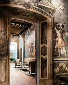 Bottega Veneta's Home boutique at the Palazzo Gallarati Scotti, Milan. Luxury Interior, Luxury Furniture, Interior Design, Italian Lifestyle, Vintage Room, Bottega Veneta, Luxury Life, Fresco, Architecture Art