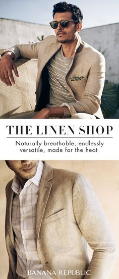 This Father's Day, help Dad take it easy with Banana Republic. Lose the heavy material and discover our linen shop. Naturally breathable & endlessly versatile, linen is made for the heat. From shirts and tees to blazers and lightweight sweaters, our linen Sharp Dressed Man, Well Dressed Men, Mature Mens Fashion, Linen Shop, Gentleman Style, Wedding Suits, Business Fashion, Mens Suits, Men Dress