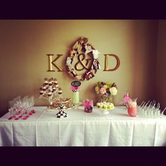 Wedding shower decor - letters then gift them to bride & groom