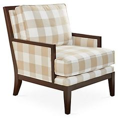 Palmwood Chair, Camel Plaid