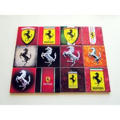 Set of 4 Ferrari Drink Coasters Ceramic Tiles Choose between 12... (€22) ❤ liked on Polyvore featuring home, kitchen & dining, bar tools, ceramic drink coasters, logo coasters, ferrari and ceramic coasters