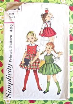 Simplicity 3614 - Vintage 1950s Girls Blouse, Skirt, and Vest Pattern by Fragolina on Etsy