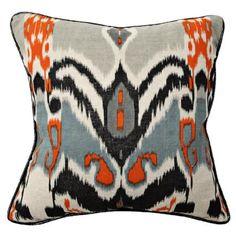 Ikat Print Linen Throw Pillow $50