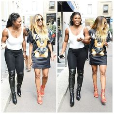 Singer @ciara & Tennis Champ @serenawilliams share a laugh while hitting the street of Italy at the Milan Fashion Week. #Steevane #SV #Fashion #Style #Celebrity