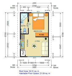 One room apartment layout ideas 15 - Savvy Ways About Things Can Teach Us Garage Studio Apartment, Studio Apartment Floor Plans, Studio Floor Plans, One Room Apartment, Apartment Plans, House Floor Plans, Tiny House Cabin, Small House Plans, Bedroom Layouts