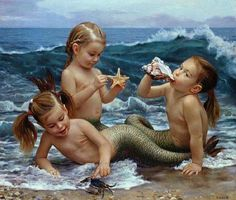 Little Mermaids with green tails playing in the water art
