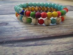 Check out this item in my Etsy shop https://www.etsy.com/listing/234209144/howlite-turquoise-bracelets-evilyeye