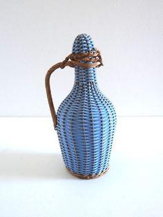 Bouteille scoubidou vintage bleu lavande