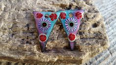 Enameled Earring Charms Gypsy Style Slices with Orchid, Minty Green and Red with Murrini Handmade Jewelry Charm Component Jewelry Supplies