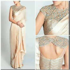 Georgette & Lyrca Lace Work Plain Cream Designer Saree - 3011