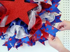 "Patriotic Ruffle Wreath Tutorial using Pencil Wreath with Balls, 10"" Wide Foil Deco Poly Mesh and Ribbon - Trendy Tree Blog"